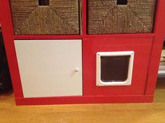 Materials: EXPEDIT 2x4 shelving unit, EXPEDIT insert with door, cat flap, drill, jigsaw, box cutterDescription: I share a studio apartment with a furry young ge