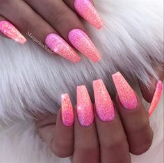 Pink Coral Sunset Glitter Ombré Nails by MargaritasNailz