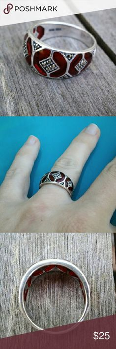 Sterling Silver, Marcasite, & Garnet Ring This ring is fabulous and unique! Inlaid red Garnet stones with small clusters of Marcasite set in Sterling Silver. Great vintage condition! Fits like a size 6 - 6 1/2. Vintage Jewelry Rings