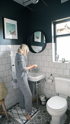 The Frugality House Interiors update: Bathroom. Black and white bathroom inspiration ideas. Bathroom Windows, Bathroom Floor Tiles, Bathroom Interior, Modern Bathroom, Family Bathroom, Mirror Bathroom, Dark Tiled Bathroom, Paint Floor Tiles, Small Bathroom With Window
