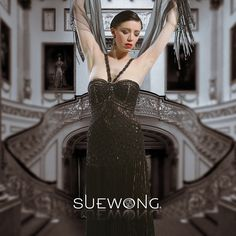 SUE WONG v beaded strapped gown with embroidered and beaded bodice and tiered fringed skirt  #teamsuewong #fashion #inspiration #couture #hautecouture #highfashion#glamorous #suewong #colorful