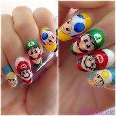 Super Mario Nails nails nail pretty nails nail art nail ideas super mario luigi - jus think they look cool