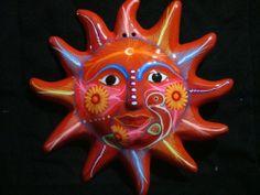 Mexican Sun wall decor Mexican folk art in  orange , talavera  eclipe