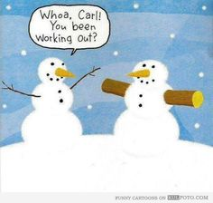 This snowman is doing Body Beast!