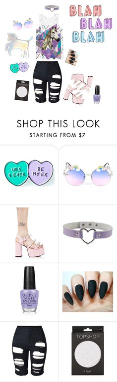 """""""Whateves"""" by myyutes on Polyvore featuring This Is a Love Song, Current Mood, OPI, Topshop and WithChic"""