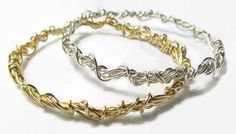 Woven Stacking Bracelets Set, Argentium Silver and Gold Fill
