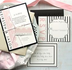 Modern Lace  Modern Wedding Invitations Pink Chic by BeaconLane, $100.00