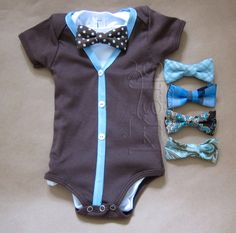 Baby Boy Short Sleeve Brown/Blue Cardigan Outfit with your choice of 1 removable Bow Tie on Etsy, $35.00