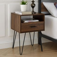 Best Photos Welwick Designs Modern Dark Walnut Hairpin Leg Side Table - The Home Depot Tips In several dormitories Ikea bedrooms are pleased to be viewed, as they offer numerous options for a Modern End Tables, Contemporary Side Tables, Elegant Homes, Home Decor Accessories, Home Furnishings, Decor Styles, Home Furniture, Furniture Design, Primitive Furniture
