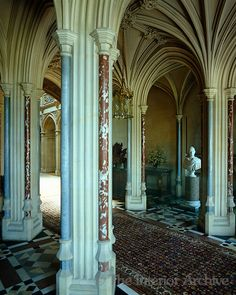 The fan-vaulted neo-gothic entrance hall to HIghclere Castle