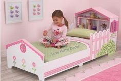A great bed for any young girl. Who needs a tree house when your bed is a doll house? This little bed is packed with so many goodies! The fence posts on the sides double as rails, storage space on hea                                                                                                                                                     More