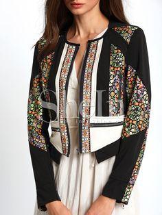 Jacket sin cuello estampado color combinado crop -negro