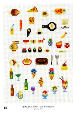Items similar to Kawaii Cross Stitch Book by Makoto Oozu - Japanese Embroidery Pattern Book - Lovely Motifs - Hand Cross Stitch Design, Easy Tutorial, on Etsy Kawaii Cross Stitch, Tiny Cross Stitch, Cross Stitch Kitchen, Cross Stitch Books, Cross Stitch Designs, Cross Stitch Patterns, Cross Stitching, Cross Stitch Embroidery, Embroidery Patterns
