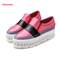 Cheap leather shoes, Buy Quality platform leather shoes directly from China women loafers Suppliers: New fashion flat platform leather shoes 2017 round toe woman loafers whiter pearls embellished casual shoes size Casual Loafers, Casual Shoes, Women's Casual, Girls Shoes, Baby Shoes, Leather Loafer Shoes, Patent Leather, Hot Shoes, Women's Shoes