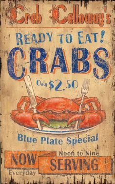 Vintage Seafood Signs For Sale | Crab Calloway Seafood - Vintage Beach Sign: Beach Decor, Coastal Home ...