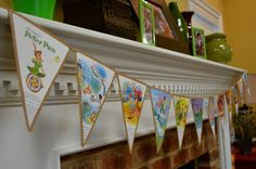 """Golden Book Pennant Bunting...Peter Pan, Neverland, Captain Hook / Birthday """"Christian's Peter Pan Party"""" 