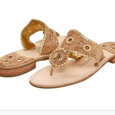 Jack Rogers sandals in cork and gold.