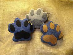Pawprint Upcycled Dog Toy Denim Squeaky Plush by Ruffelstiltskin