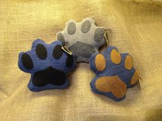 Pawprint Upcycled Dog Toy Denim Squeaky Plush by Ruffelstiltskin