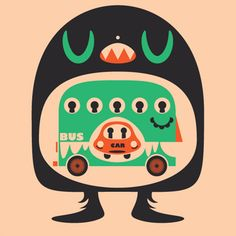 illustration, character, monster, bus, face, car  25 Project