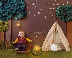 Adorable 3 month old baby boy going camping and roasting a marshmallow. tent start camp fire lantern flames Precious Baby ImaginArt by Angela Forker creative photography unique amazing cute funny Fort Wayne New Haven Indiana