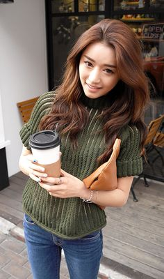 [STYLENANDA] HIGH-NECK SEE-THROUGH KNIT TOP