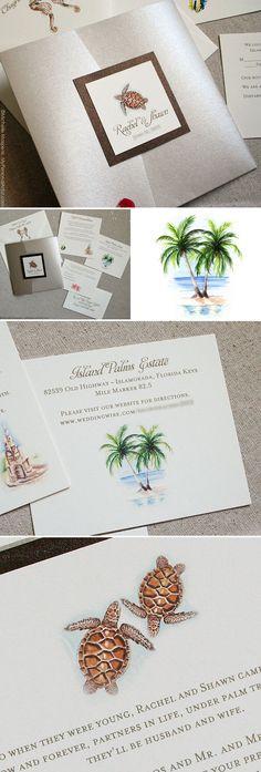 Folder beach wedding invitations with whimsical watercolors. \ MospensStudio.com