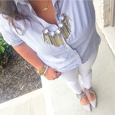 White jeans + lace up flats