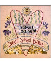 """""""Sweet, Sweet Babe"""" was stitched on 28 count linen using Gentle Arts and Weeks Dye Works floss. Stitch count: 89x95. Buttons by Just Another Button Company."""