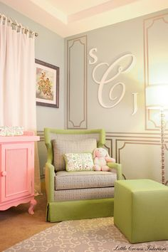 Charming Glamour Furniture's in Baby Girl Nursery Room Design in Pink and Green - hate the wall decal but love the colors and that chair! Nursery Room, Girl Nursery, Girls Bedroom, Master Bedroom, Bedroom Wall, Nursery Decor, Grey Bedrooms, Budget Bedroom, Master Closet