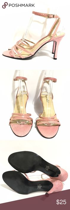 Nine West stiletto heels ankle strap pink snake Good condition. Heels height: 4 inches Nine West Shoes Heels