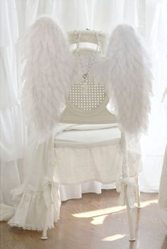 Dining: Christmas idea, attach white wings to chairs. Angle Wings, Diy Wings, I Believe In Angels, Angels And Demons, Romantic Homes, Shades Of White, My Favorite Color, Decoration, Shabby Chic
