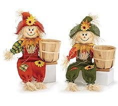 Boy and Girl Autumn Scarecrows Holding Bamboo Basket >>> Click image to review more details.