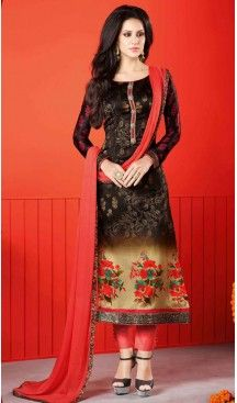 Salmon Color Satin Digital Printed Salwar Kameez | FH526080230 #casual, #salwar, #kameez, #online, #trendy, #shopping, #latest, #collections, #summer,#shalwar, #hot, #season, #suits, #cheap, #indian, #womens, #dress, #design, #fashion, #boutique, #heenastyle, #clothing, #cotton, #printed, #materials, @heenastyle