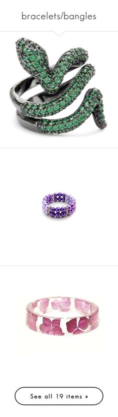 """""""bracelets/bangles"""" by sarahmullen-yugioh ❤ liked on Polyvore featuring jewelry, rings, accessories, green, snake, wide rings, animal rings, snake jewelry, snake ring and fine jewellery"""
