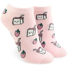 Forever21 Strawberry Graphic Ankle Socks ($1.90) ❤ liked on Polyvore featuring intimates, hosiery, socks, forever 21, short socks, graphic socks, forever 21 socks and cotton ankle socks
