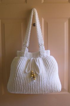 Crochet white large shoulder bag crochet winter by MyNicePurses, $55.00