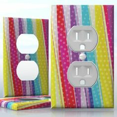 DIY Do It Yourself Home Decor - Easy to apply wall plate wraps | Delightful Harmony Dotted lines and colors wallplate skin sticker for 1 Gang Wall Socket Duplex Receptacle | On SALE now only $3.95
