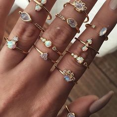 Opal , Moonstone, White Topaz dainty gold rings.