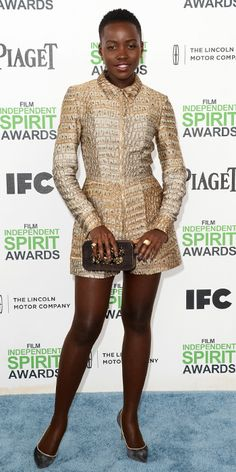 2014 Independent Spirit Awards Red Carpet - Lupita Nyong'o in Stella McCartney, Casadei heels, a Devi Kroell clutch, and Neil Lane jewelry.