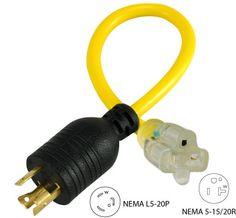 Conntek 30126 3Prong 30A to 15/20A Generator Plug Adapter