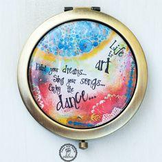 Life is Art Pocket Mirror Compact Mirror Bronze by LadyArtTalk