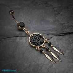 Golden Black Dreamcatcher Belly Button Ring