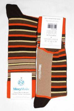 Orange Brown Tan Stripe Mens Dress Sock - MoxyMaus