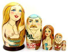 Russian nesting dolls NUDE Matryoshka 5 BANYA SAUNA Naturism Nudists Unique Gift