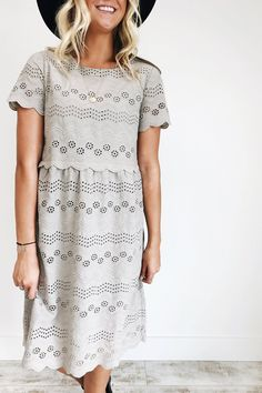 Gray Floral Eyelet Lace Dress Sleeve Embroidery Detail Scalloped Trim Sleeve, Waist, + Hem Lined Bodice + Skirt Hidden Side Zipper Length Chart Dress Skirt, Lace Dress, Vogue, Church Outfits, Classy And Fabulous, Modest Fashion, High Fashion, Spring Summer Fashion, Passion For Fashion