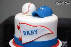 Baseball themed baby shower cake by K Noelle Cakes