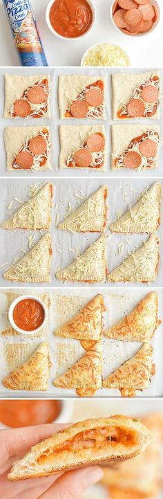 Homemade Easy Cheesy Pizza Pockets These easy cheesy homemade pizza pockets are SO EASY and they taste amazing! - These easy cheesy homemade pizza pockets Homemade Pizza Pockets, Le Diner, Kid Friendly Meals, I Love Food, Appetizer Recipes, Dinner Recipes, Dinner Ideas, Pizza Appetizers, Lunch Ideas