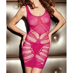 $8.12 Sexy Scoop Neck Bodycon Openwork Dress For Women