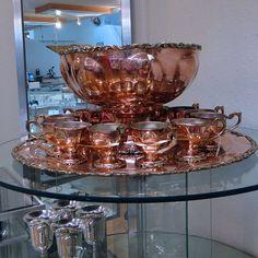 Copper Punch Bowl Set